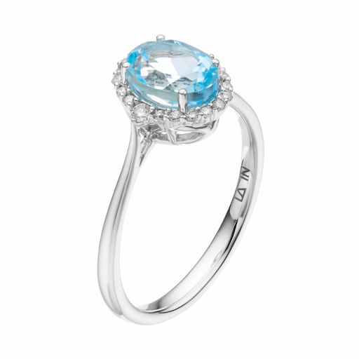 LC Lauren Conrad 10k White Gold Blue Topaz & 1/8 Carat T.W. Diamond Oval Halo Ring