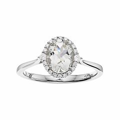 LC Lauren Conrad 10k White Gold Green Quartz & 1/8 Carat T.W. Diamond Oval Halo Ring