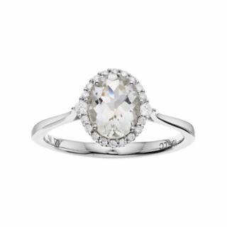 LC Lauren Conrad 10k White Gold Green Quartz & 1/8 Carat T.W. Diamond Oval Halo Ring