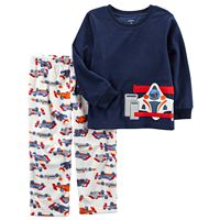 Boy Carter's Racecar Applique Top & Microfleece Bottoms Pajama Set