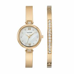 Armitron Women's Crystal Stainless Steel Half Bangle Watch & Bracelet Set - 75/5487MPGPST