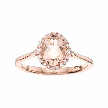 LC Lauren Conrad 10k Rose Gold Morganite & 1/8 Carat T.W. Diamond Oval Halo Ring