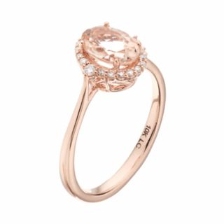 LC Lauren Conrad 10k Rose Gold Morganite & 1/8 Carat T.W. Diamond Oval Halo Ring