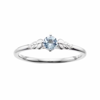 LC Lauren Conrad 10k White Gold Blue Topaz Leaf Ring
