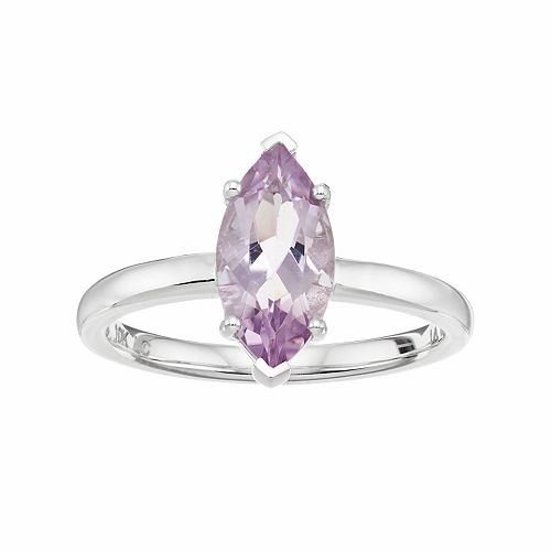 LC Lauren Conrad 10k White Gold Amethyst Marquise Ring