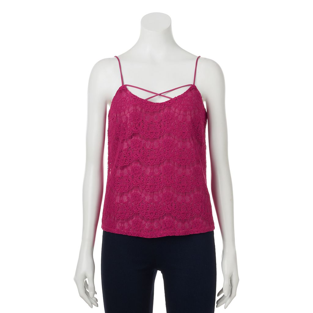 Juniors' Love, Fire Criss-Cross Lace Camisole