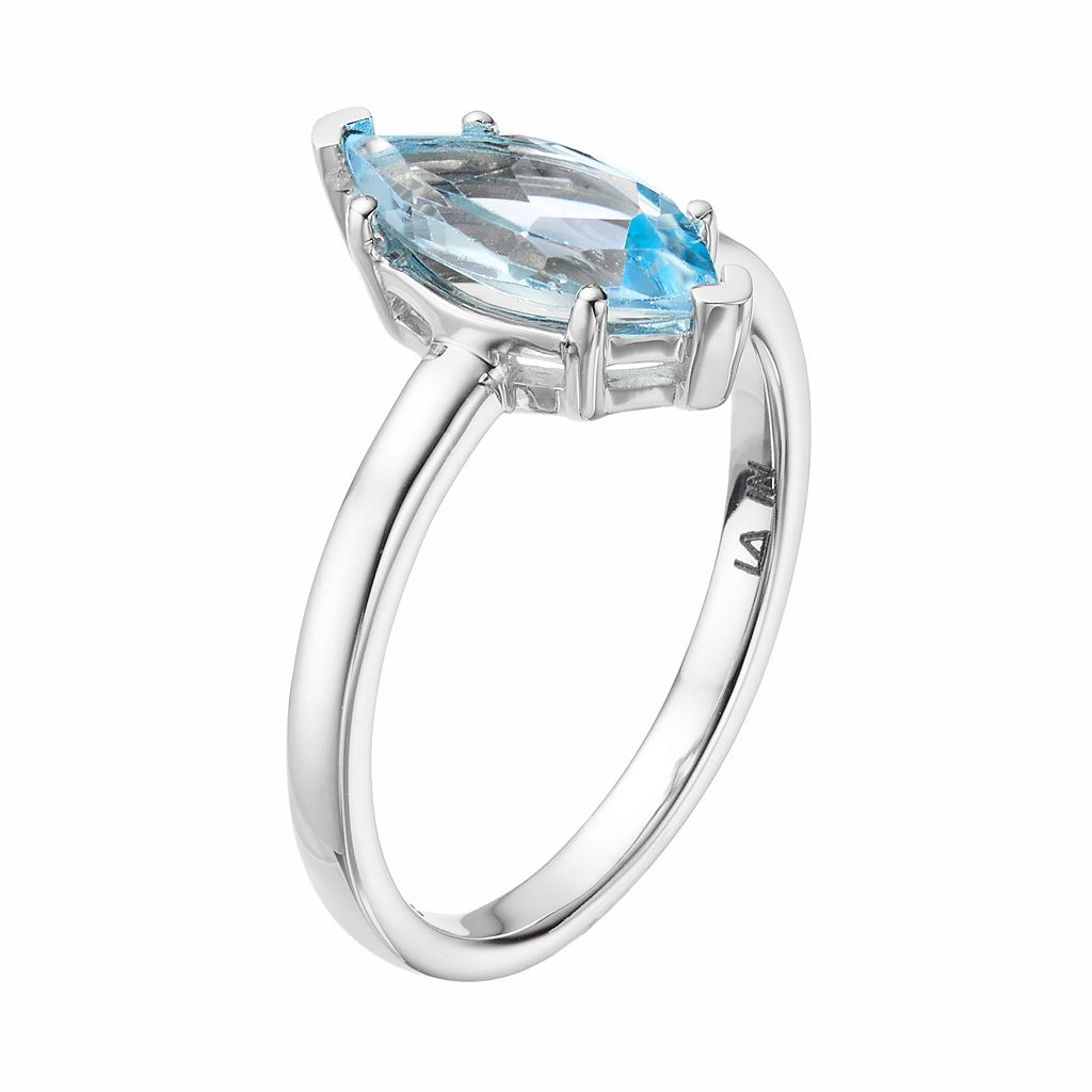 LC Lauren Conrad 10k White Gold Blue Topaz Marquise Ring