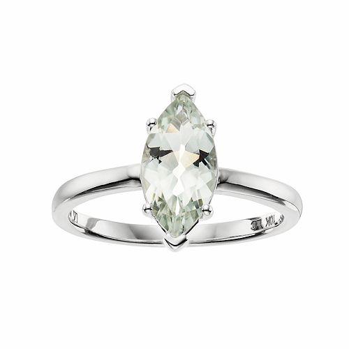 LC Lauren Conrad 10k White Gold Green Quartz Marquise Ring