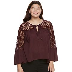 Juniors' Plus Size Mudd® Lace Sleeve Peasant Top