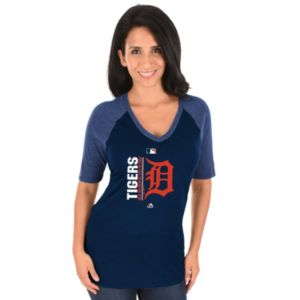 Women's Majestic Detroit Tigers AC Team Icon Raglan Tee