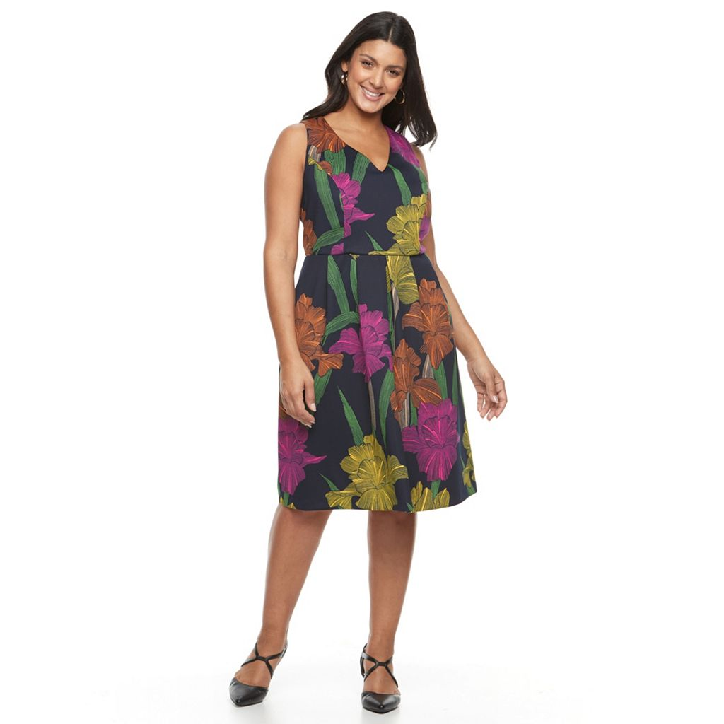 Plus Size Chaya Flower Print Fit & Flare
