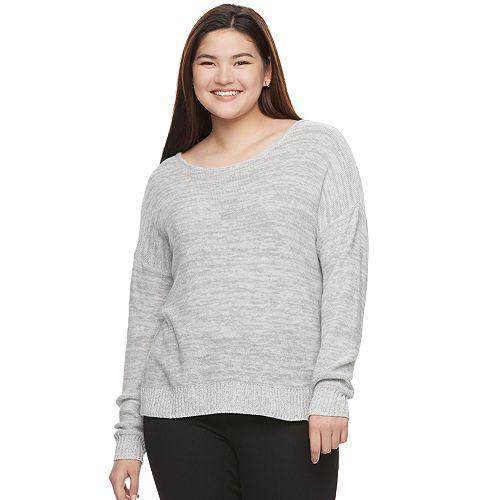Juniors' Plus Size SO® Cross Back Crewneck Sweater