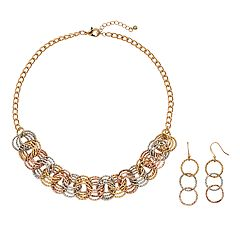 Tri Tone Circle Link Necklace & Drop Earring Set