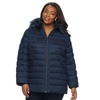 Plus Size ZeroXposur Taylor Faux-Fur Trim Puffer Jacket