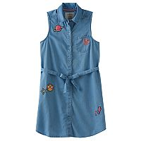 Girls 7-16 & Plus Size SO® Chambray Sleeveless Patch Applique Shirt Dress