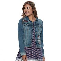 Juniors' Mudd® Embroidered Denim Jacket