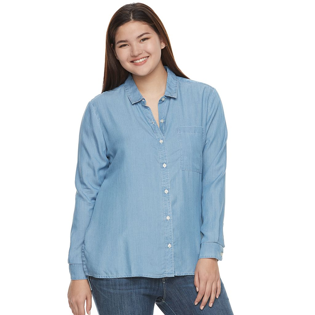 Juniors' Plus Size SO® High-Low Chambray Shirt