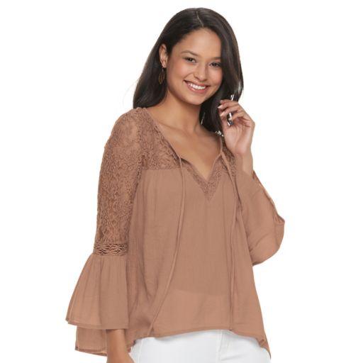 Juniors' Mudd® Lace Sleeve Peasant Top