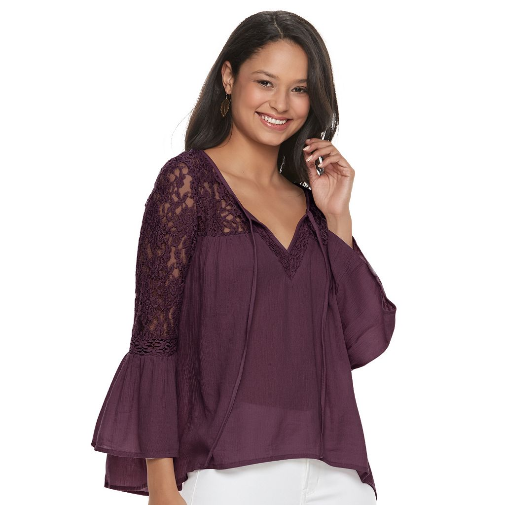 Juniors' Mudd® Lace Sleeve Peasant Top