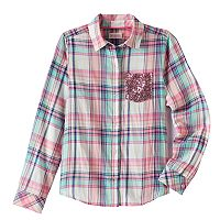 Girls 7-16 & Plus Size SO® Shine Plaid Button-Down Shirt