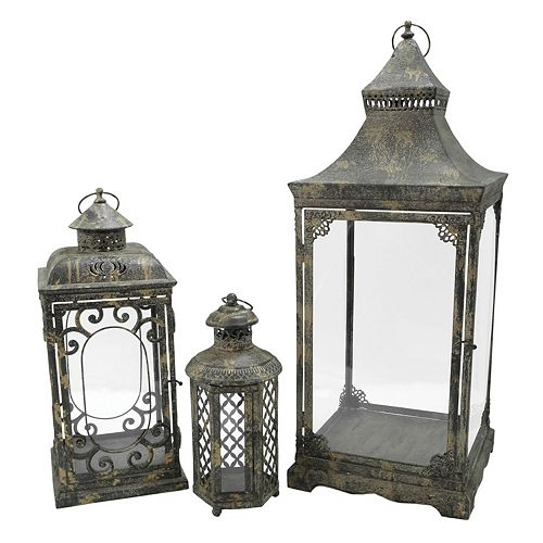 Pomeroy Indoor / Outdoor Rustic Lantern Table Decor 3-piece Set
