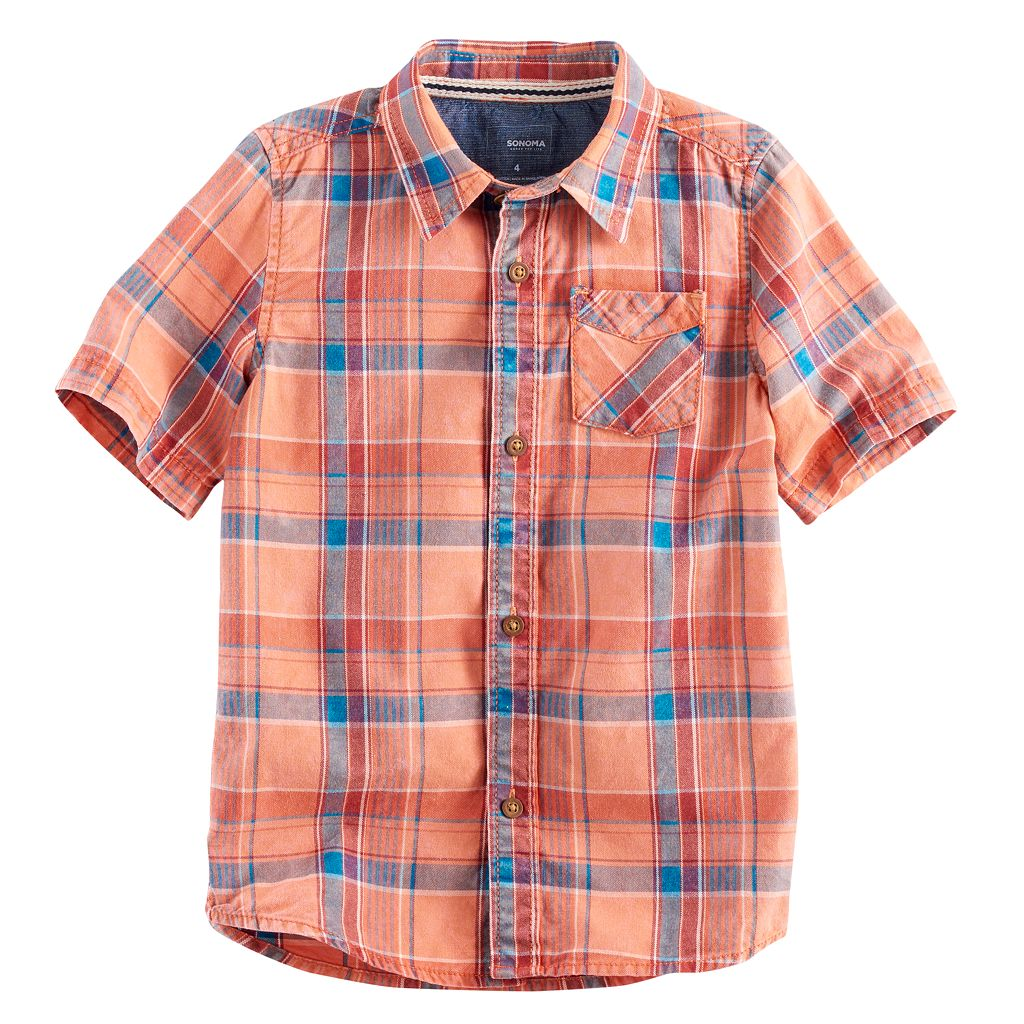 Boys 4-7x SONOMA Goods for Life™ Plaid Button Down Top