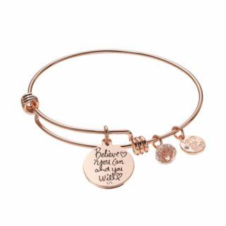 "love this life ""Believe"" Disc Charm Bangle Bracelet"