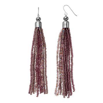 Purple Seed Bead Tassel Nickel Free Drop Earrings