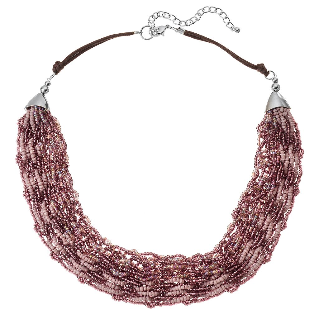 Purple Seed Bead Woven Multi Strand Necklace
