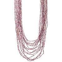 Purple Seed Bead Long Layered Necklace