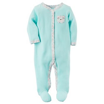 Baby Girl Carter's Terry Floral Trim Sleep & Play