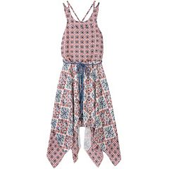 Girls 7-16 Speechless Criss-Cross Back Printed Handkerchief Hem Dress