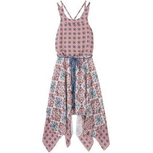 Girls 7-16 Speechless Criss-Cross Back Printed Handkerchief Hem Dress