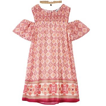Girls 7-16 Speechless Smocked Cold Shoulder Pattern Dress with Choker Necklace