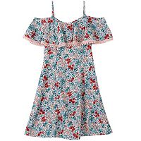 Girls 7-16 Speechless Off Shoulder Popover Lace Trim Floral Dress