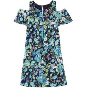 Girls 7-16 Speechless Cold Shoulder Popover Floral Dress with Necklace