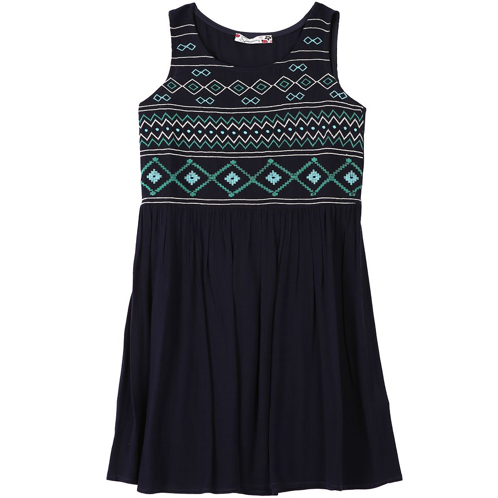 Girls 7-16 Speechless Embroidered Front Gauze Dress