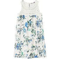 Girls 7-16 Speechless Floral Crochet-Yoke Dress