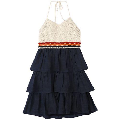 Girls 7-16 Speechless Crocheted Tiered Halter Dress