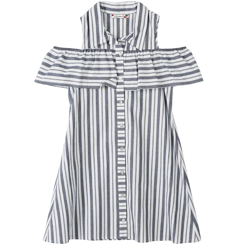 Girls 7-16 Off-the-Shoulder Striped Shirtdress