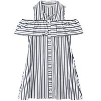 Girls 7-16 Off-the-Shoulder Striped Shirtdress