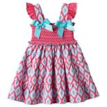 Baby Girl Sophie Rose Smocked Tribal Dress