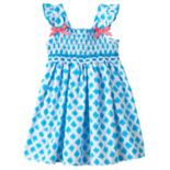 Baby Girl Sophie Rose Smocked Dot Dress