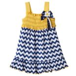 Baby Girl Sophie Rose Smocked Chevron Dress