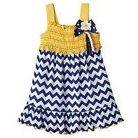 Baby Girl Sophie Rose Smocked Chevron Dress