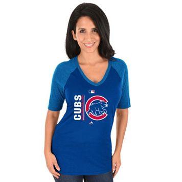 Women's Majestic Chicago Cubs AC Team Icon Raglan Tee