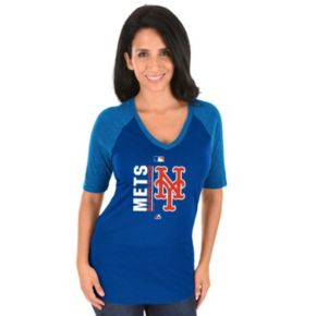 Women's Majestic New York Mets AC Team Icon Raglan Tee
