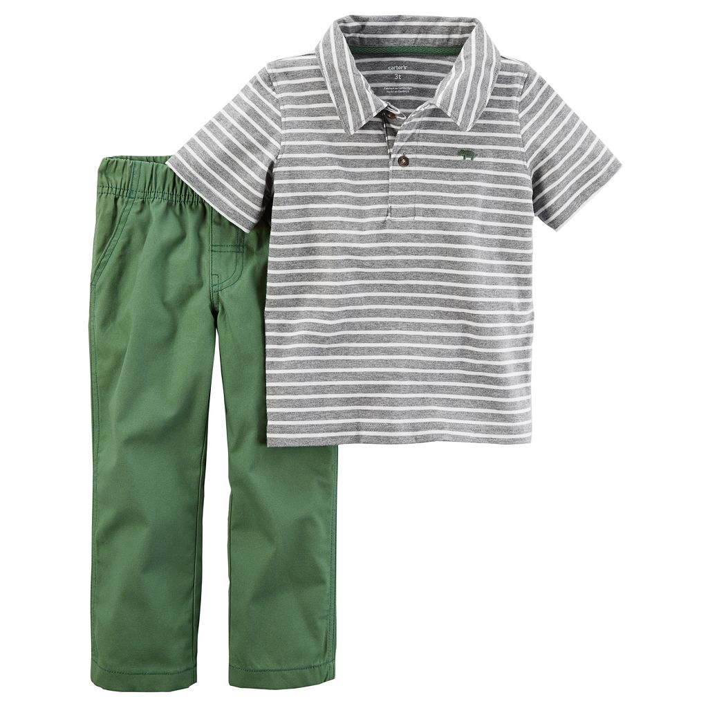Baby Boy Carter's Striped Polo & Pants Set