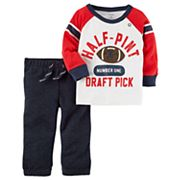 Baby Boy Carter's 'Half-Pint Draft Pick' Long Sleeved Football Tee & Jogger Pants Set