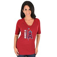 Women's Majestic Los Angeles Angels of Anaheim AC Team Icon Raglan Tee